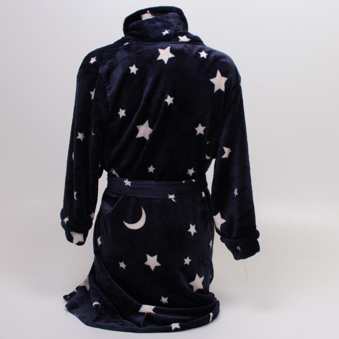 Dámský župan Iris & Lilly vzor hvězdy modrý