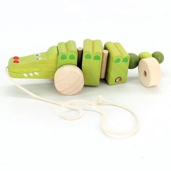 Dřevěná hračka: Krokodýl na kolečkách