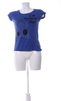 Dámské tričko s potiskem Fishbone modré