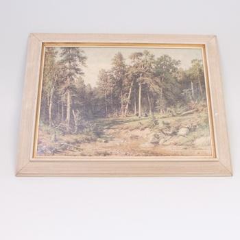 Dřevěný obraz s malbou lesa