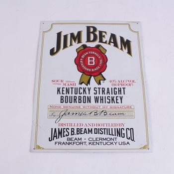 Dekorativní plechová cedule Jim Beam bílá