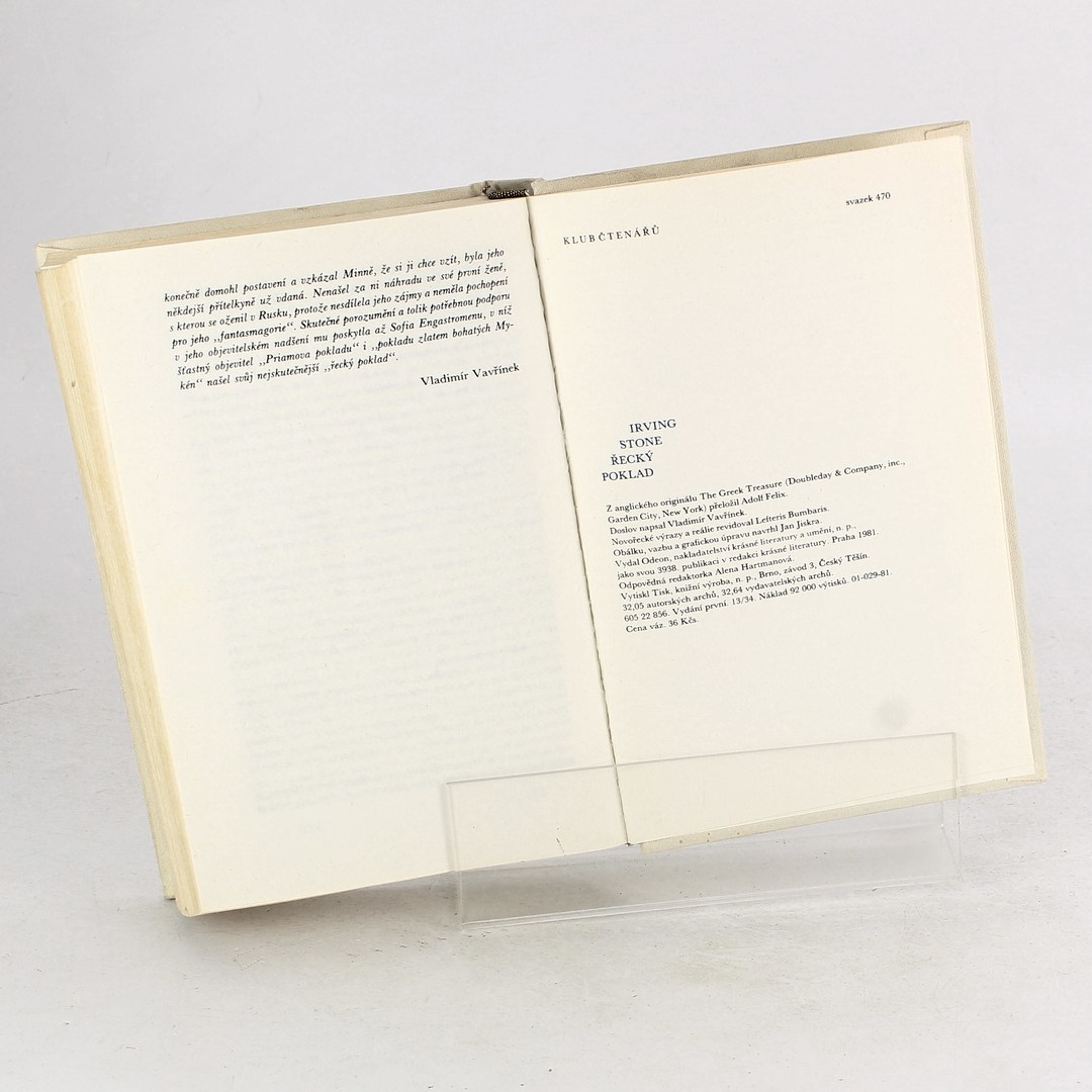 Kniha Irving Stone: Řecký poklad