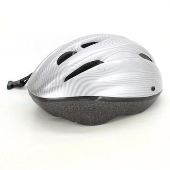Cyklistická helma stříbrná s pruhy