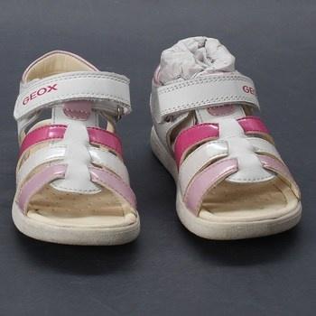 Dívčí sandálky bílé na suchý zip Geox