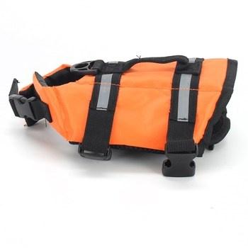 Plovací vesta pro psa černo-oranžové barvy