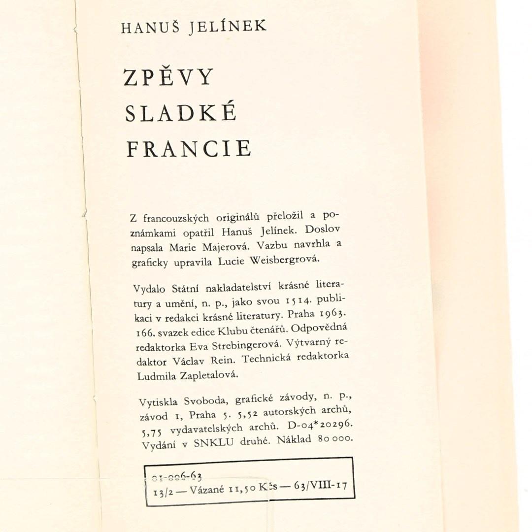 Kniha Hanuš Jelínek: Zpěvy sladké Francie