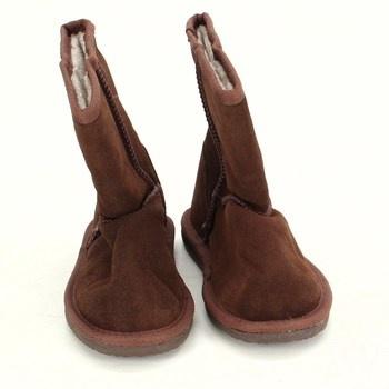 Dětské hnědé zateplené boty