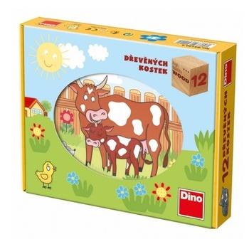 Dřevěné kostky DINO Domácí zvířátka