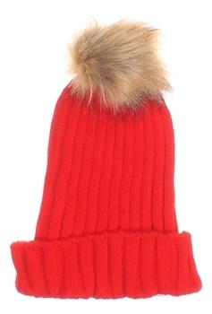 Dámská čepice červená s bambulí