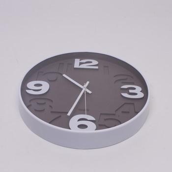 Nástěnné hodiny QUARTZ bílo-šedé