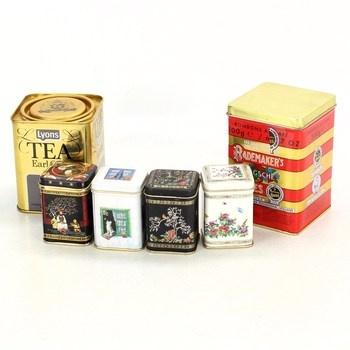 Sada plechových krabiček od čaje