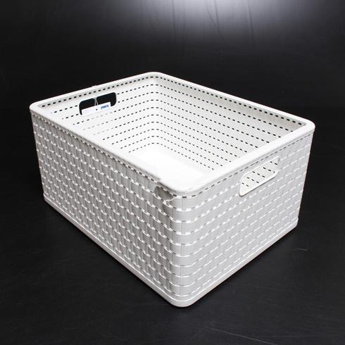 Box plastový Rotho ve stylu ratanu bílý
