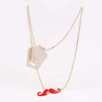 Řetízek s knírem červený Fashion Jewelry