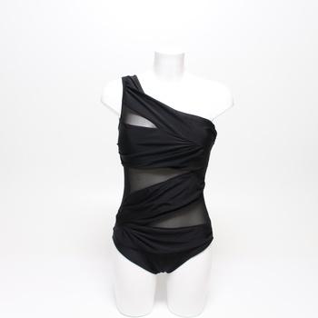 Dámské asymetrické jednodílné plavky černé