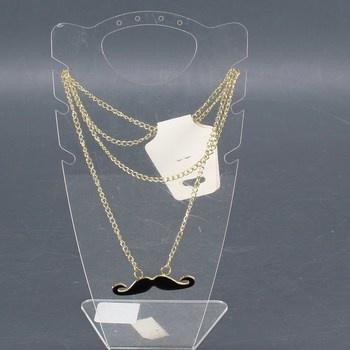 Dámský řetízek Fashion Jewelry černý knír