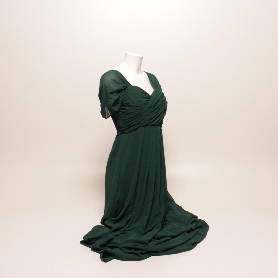 Dámské dlouhé šaty zelené s krátkým rukávem