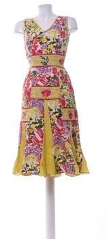 Dámské dlouhé šaty žluté s květinami
