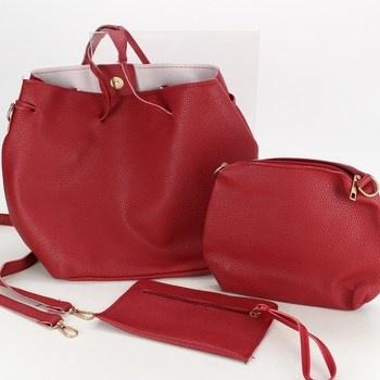 4 dílná sada koženkových kabelek červená