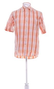Pánská kostkovaná košile Basic Line oranžová
