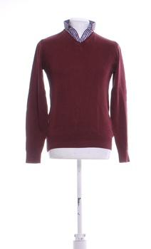 Pánský svetr s límečkem Next vínový