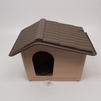 Plastová hnědá bouda pro psa