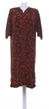 Dámské dlouhé šaty hnědé s červenými květy