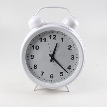Stolní hodiny ve tvaru budíku bílé
