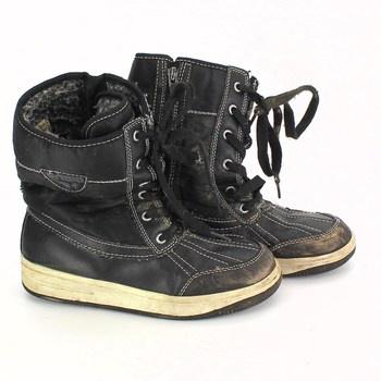 Dětské zimní boty na zavazování černé