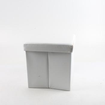 Taburet Halmar Moly bílý koženkový