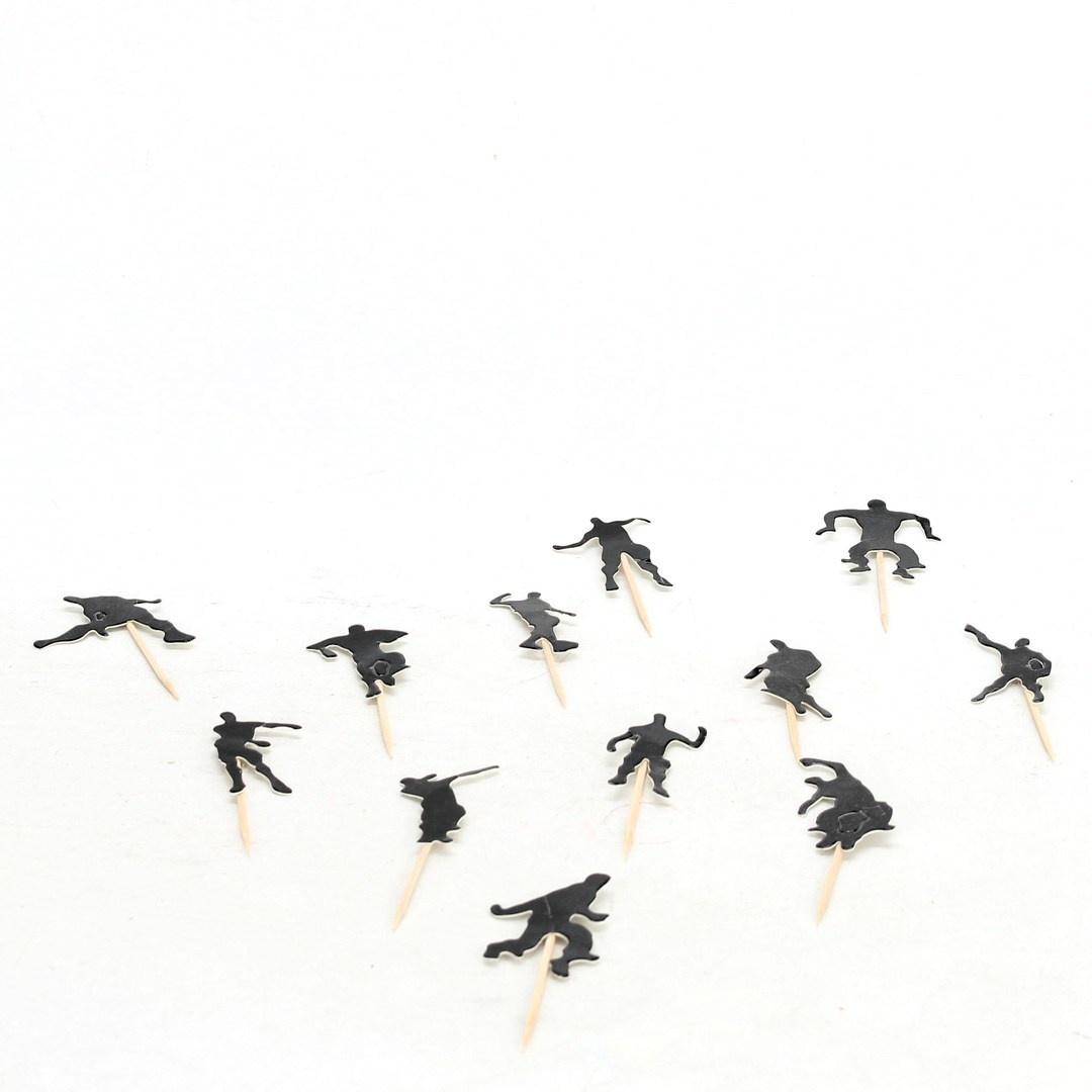 Dekorace černé figurky na špejli