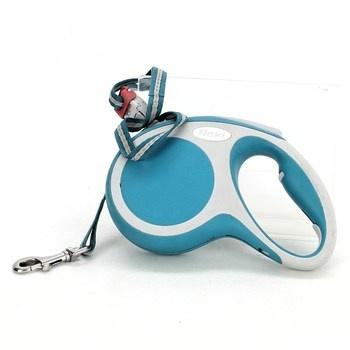 Vodítko Flexi modro bílé 5 metrů