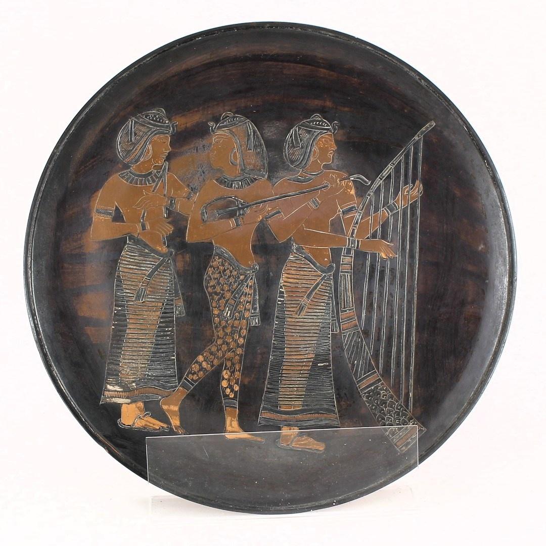 Bronzový talíř na stěnu v egyptském stylu