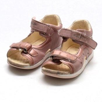 Dívčí sandálky Geox kožené růžové