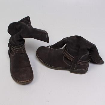 Dámské zimní boty kozačky hnědé