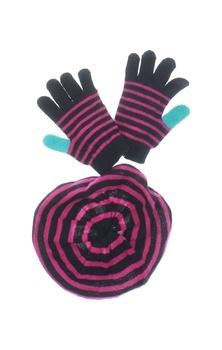 Set čepice a rukavic Oriflame černorůžový