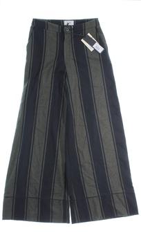 Dámské kalhoty Fracomina černé a khaki pruhy