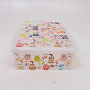 Úložný box s víkem Kis s motivem koček