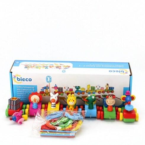 Dřevěná hračka Bieco Narozeninový vlak