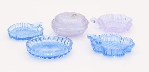 Sada pěti skleněných talířků