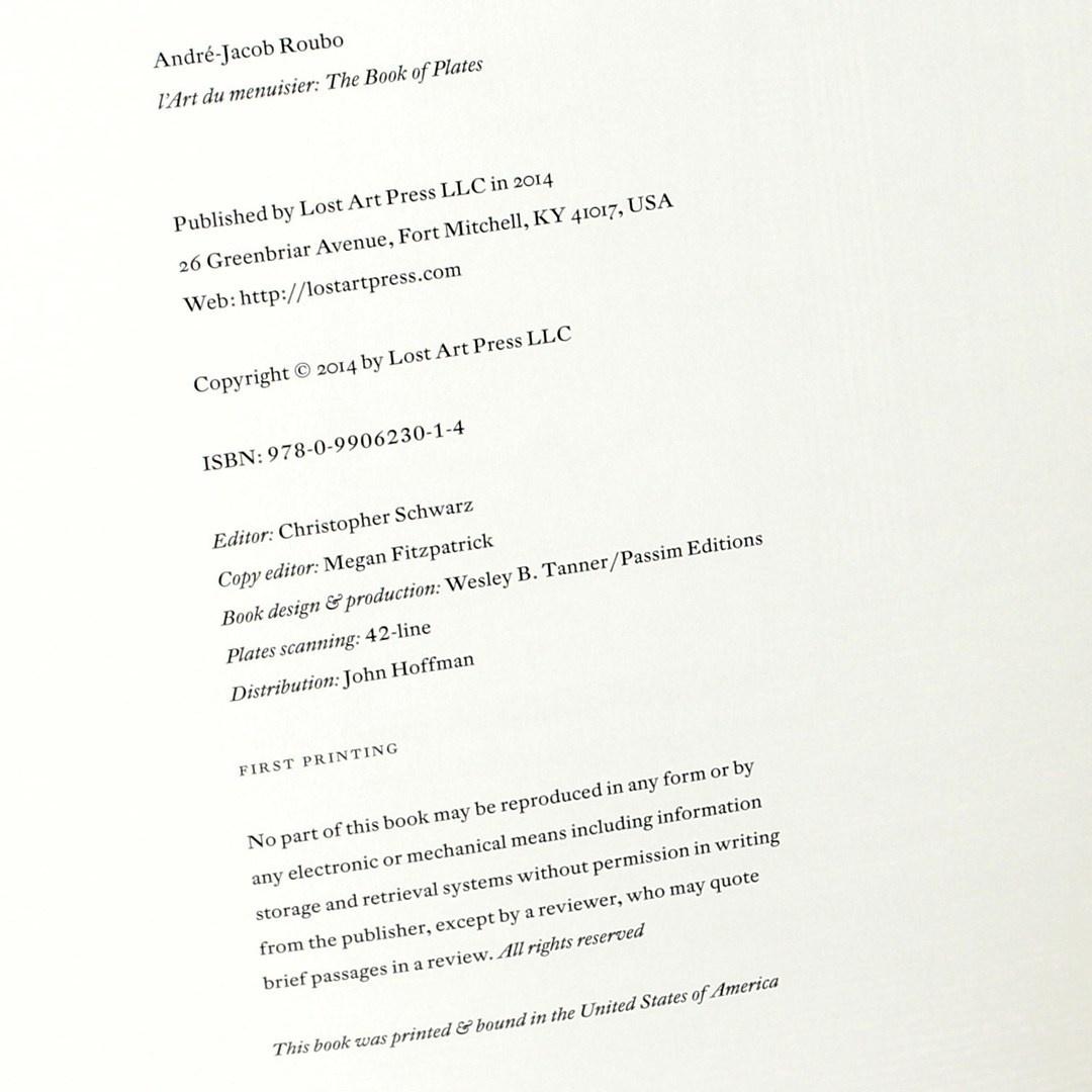 L'art du Menuisier: The book of Plates