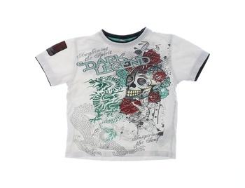 Dětské tričko Okay bílé s lebkou Dark Legend