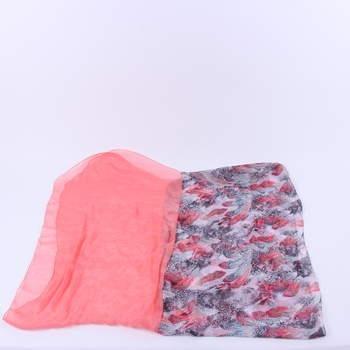 Dámský šátek odstín růžové se vzory 6fa89e2ef0