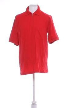 Pánské tričko se zipem a límečkem červené