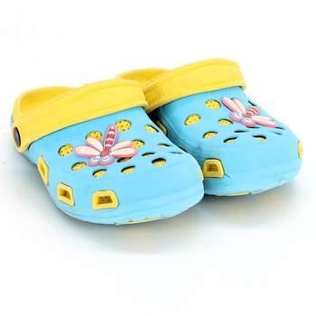 2ceeef7669ab Dětské crocsy žlutotyrkysové s vážkou