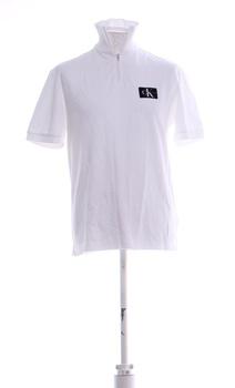 Pánské triko Calvin Klein bílé se stojáčkem