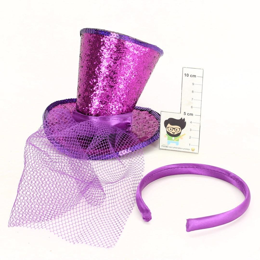 Klobouček Smiffys fialový se závojíčkem