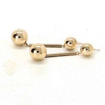 Náušnice ocelové zlaté visací kuličky