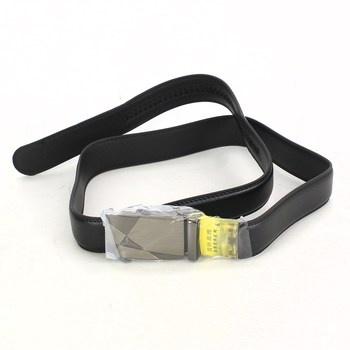 Pánský pásek černý se stříbrnou sponou 127cm