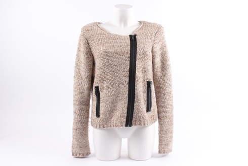 8753025fcce Dámský pletený svetr béžový s šikmým zipem - bazar