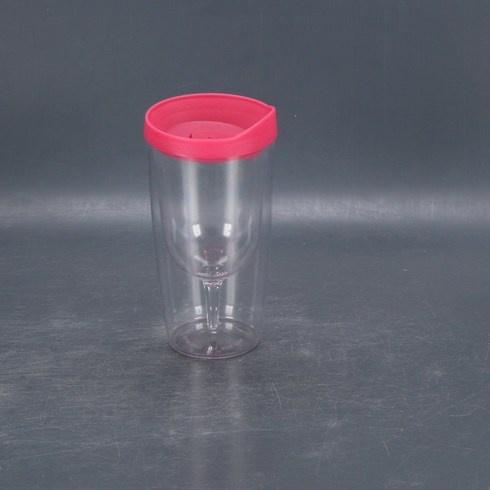 Plastová nádoba s růžovým víčkem